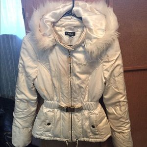 Used BEBE White Winter Jacket